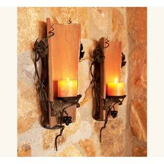 Antique Tuscan Tile Sconces: When centuries-old Tuscan villas undergo repair or renovation, builders often replace the roof tiles. Tiles are approximately years old with metal grapevine wall mounts that hold a candle. Napa Style, Tuscan Style, Clay Roof Tiles, Wall Tiles, Candle Sconces, Wall Sconces, Tile Crafts, Tuscan Design, Tuscan Decorating