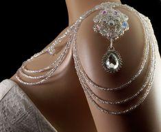 Crystal Czech glass beaded bridal shoulder necklace. silver pearl shoulder necklace. bridal shoulder necklace. wedding shoulder necklace