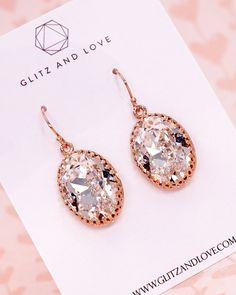 Clear Oval Crystal Earrings, Rose Gold, Swarovski Crystal, Personalised initial, gifts for her, bridal shower gifts, bff gifts, wedding jewelry, simple beauty, www.glitzandlove.com