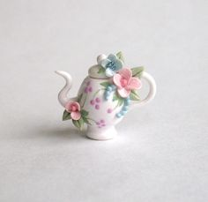 Miniature Lovely Pastel Blossoms Teapot OOAK by by ArtisticSpirit
