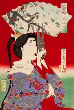 Kunichika, Musical Beauties - Reed-pipe Player