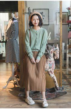 Mori Girl Fashion, Cute Fashion, Modest Fashion, Hijab Fashion, Korean Fashion, Fashion Outfits, Fashion Fashion, Moda Aesthetic, Aesthetic Clothes