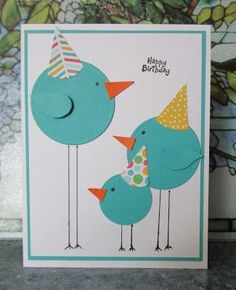 """handmade birthday card: HEARTWARMERS FROM VICKI ... punch art long legged circle birds wearing party hats ... great design ... two-step bird punched wings on """"adults"""" .... …"""