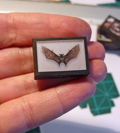Paper miniature . BAT SHADOW BOX  - taxidermy - victorian steampunk gothic - Scale 1:12
