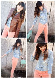 i like the roses on her denim shirt! An easy DIY with the right stamp and some white acrylic paint