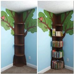 Tree Bookshelf... This is simple enough.. then could add fake leaves flowers fairy lights etc...