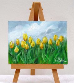 Yellow tulips in the Field 3x4original oil by valdasfineart