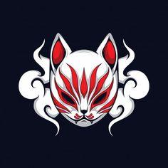 Japan Illustration, Illustration Vector, Farm Cartoon, Cartoon Art, Mask Japanese, Anbu Mask, Chinese Mask, Arte Steampunk, Kitsune Mask