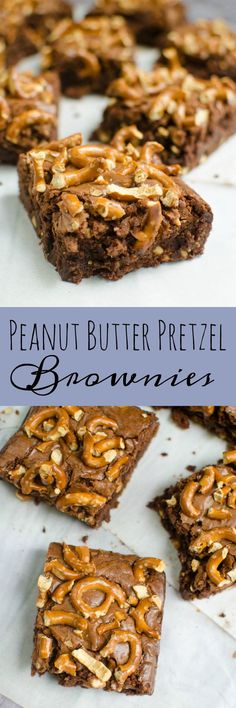 Peanut Butter Pretzel Brownies - the perfect recipe for sweet and salty brownies! These bars look like such a treat!