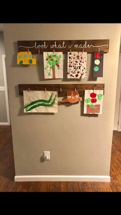artwork display ideas & artwork display for kids ; artwork display for kids classroom ; artwork display for kids wall ideas ; artwork display for kids diy ; Displaying Kids Artwork, Artwork Display, Hanging Kids Artwork, Display Wall, Baby Room Display Boards, Diy And Crafts, Crafts For Kids, Toy Rooms, Refurbished Furniture