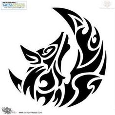 For Jonathan: wolf and moon tribal tattoo.