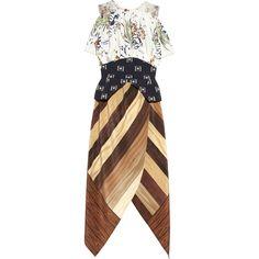 Rodarte Printed silk-crepe and cotton peplum dress (73 905 UAH) ❤ liked on Polyvore featuring dresses, rodarte, vestidos, off the shoulder dress, floral embroidered dress, see through dress, floral dresses and cotton dresses