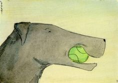 Tennis ball and Lab, painting by artist Nicole Wong