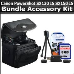 8GB Bundle For Canon PowerShot SX130 IS SX130IS SX150 IS SX150IS Digital Camera Includes 8GB High Speed SD Memory card + USB 2.0 High Speed Card Reader + Deluxe Carrying Case + Mini Tripod + Clear LCD Screen Protectors + More (Electronics)