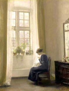 A Girl Sewing ~ Carl Vilhelm Holsøe ~ (Danish: 1863-1935)