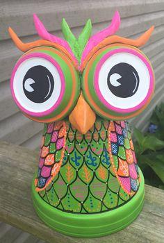 Clay pot terra cotta owl
