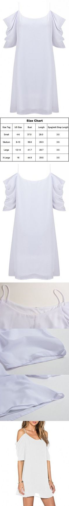Women's Summer Spaghetti Strap Sundress Trumpet Sleeve Beach Slip Dress White X-Large