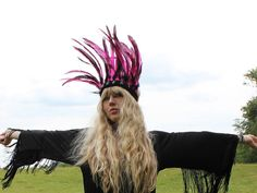 Pink and Black Leather and Feather Headdress