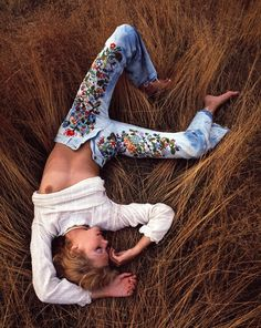 Vintage hand-decorated one-of-a-kind denim & babes, photographed by Sam Haskins for a Levis in the 1970's. Sadly, the images were deemed too risqué for the company branding and were never used commercially.