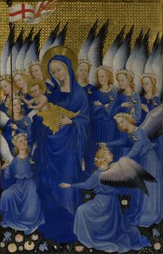 Section from The Wilton Diptych from the The National Gallery collection. Section from The Wilton Diptych, Wall Art Prints, Canvas Prints, National Gallery, Christian Images, Christian Art, Wall Art Wallpaper, Kunst Poster, Madonna And Child, Lady Madonna