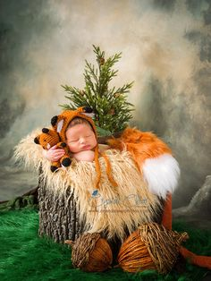 Newborn Props Fox Bonnet and Tail Set Comes with matching