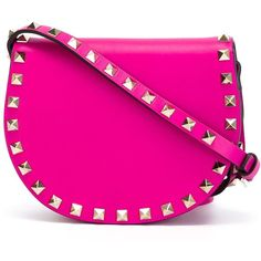 Valentino Garavani 'Rockstud' crossbody bag (25,430 HNL) ❤ liked on Polyvore featuring bags, handbags, shoulder bags, pink cross body purse, pink shoulder bag, pink crossbody, fuschia purse and pink purse