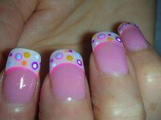 Cute+French+Tip+Nail+Designs   Nail art; Super cute french tip manicure with dots nail art design
