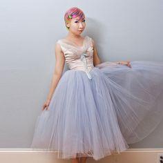 1950s Baby Blue White Ballerina Tutu Costume Tulle by Shrinkle