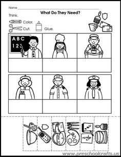Community Helpers Printable Worksheets for Kids - Preschool and Kindergarten Preschool Family, Preschool Lessons, Kindergarten Worksheets, In Kindergarten, Preschool Activities, Space Activities, Family Activities, Community Helpers Kindergarten, Community Helpers Activities