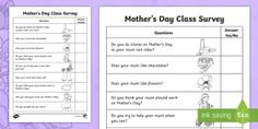 Mother's Day Foundation Class Survey Activity Sheet - Mother's Day Maths, maths, mother, mother's day, mum, statistics and Probability, data representat