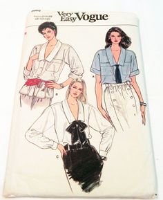 """1980s V neck loose fitting blouse shirt button front collar long short sleeves Vogue 8888 Size 8 10 12 Bust 31.5 32.5 34"""" UNCUT FF by retroactivefuture on Etsy"""