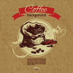 Coffee background retro design vector 04