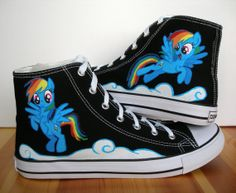 Adult Hand Painted Converse Shoes My Little Pony Rainbow Dash on Etsy, $120.30