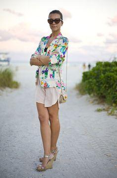 Natalie Joos in pastel print Emanuel Ungaro vintage jacket | South Beach (Miami), 2011 | Street Peeper