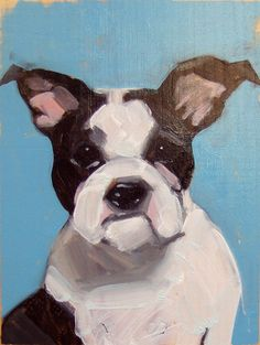Even in her Pet Portraits, I love this artist's rare mastery of Drawing in her organic and often deliciously abstract paintings.   Pet Portrait custom order / Retrato de by SuzannaSchlemmStudio