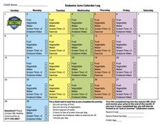 ENDZONE June Calendar log - www.sarahbush.org/endzone calendar log