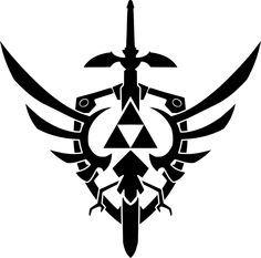 Zelda triforce, master sword and shield. Cool idea for a tattoo.