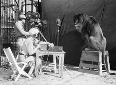 Filming the MGM lion (1929)