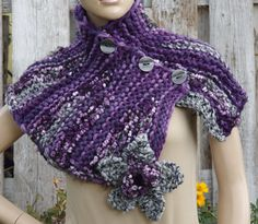 Knitt Scarf Capelet Woman's Shawl Cape Scadows purple by Degra2