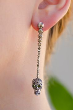 Brown Diamond Skull Earrings by Adolfo Courrier   Oster Jewelers