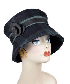 Molly Hat Style – Wool Plaid in Nightfall     #BlackWatch #millinery #hat #hats #passion4hats #pandemonium #pandemoniumhats, #pandemoniummillinery #Seattle #WA #handmade #madeinUSA #upholstery #embroidery #crueltyfree #vintage #classic #cancer #chemotherapy #alopecia #hairloss