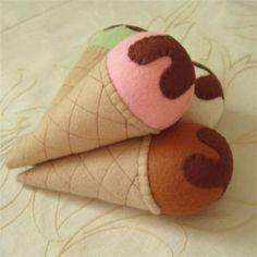 sweet little felt ice cream cones