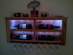 Reclaimed Pallet Wood Wine Rack with White LED Lights and Top Shelf / No 4 on Etsy, $119.00