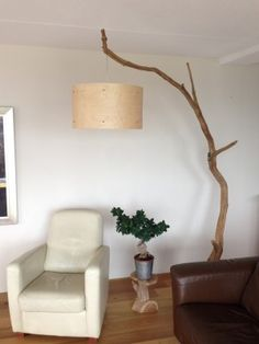 Unique Floor Lamp, Arc Lamp, handmade with real wood veneer lampshade tribe weathered old oak tree on black stone foot. Rustic Floor Lamps, Unique Floor Lamps, Arc Floor Lamps, Rustic Lamps, Handmade Home Decor, Diy Home Decor, Diy Luminaire, Driftwood Lamp, Arc Lamp