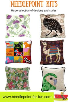 Needlepoint pillow kits both contemporary and traditional. Choose a kit from our large global selection. Needlepoint Stockings, Needlepoint Pillows, Needlepoint Designs, Needlepoint Kits, Needlepoint Canvases, Diy Craft Projects, Crafts, Project Ideas
