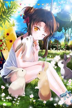 ✮ ANIME ART ✮ animal. . .anime girl with animal. . .rabbits. . .bunnies. . .carrot. . .eating. . .flowers. . .trees. . .hair buns. . .hair ribbons. . .sunlight. . .sparkling. . .cute. . .kawaii