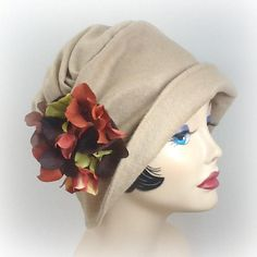 Items similar to Womens Cloche Hat - Camel Wool Cloche - Fabric Cloche - Hydrangea Brooch - Flapper Style Cloche - Warm Winter Cloche - Winter Cloche Hats on Etsy Flapper Hat, Flapper Style, Hat Patterns To Sew, Vintage Sewing Patterns, Fleece Hat Pattern, Sew Pattern, Wooly Bully, Fleece Hats, Techniques Couture