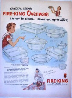 1952 FIRE-KING Crystal Clear OVENWARE GLASS ANCHOR HOCKING Print Ad ! | eBay