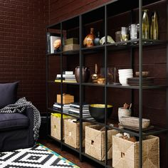 VITTSJÖ shelving unit in black-brown steel with tempered glass shelves
