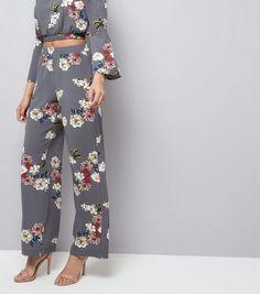 Cameo Rose - Pantalon gris à imprimé floral